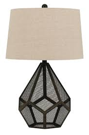 geometric wire mesh metal table lamp drum lampshade 31 h