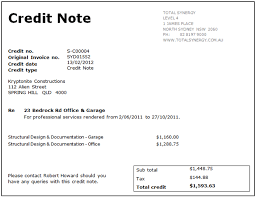 Sample Credit Note Invoice Printing A Credit Note