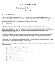 Work Statement Examples Example Statement Of Work Rome Fontanacountryinn Com
