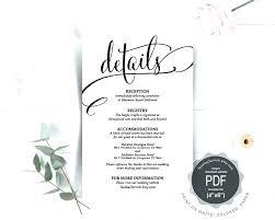 Wedding Enclosure Card Template Wedding Details Card Good Wedding Details Card Template Editable
