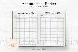 B6 Tn Measurement Tracker Travelers Notebook Fitness Journal Midori Inserts Tn Inserts Body Measurement Chart Weight Loss Chart