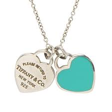 return to tiffany mini double heart tag pendants enamel and silver chain nextprev prevnext