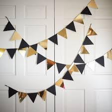 bunting banner for black and gold party decor ships in business days pennant banner photo backdrop