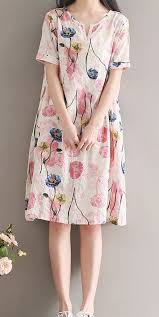 Women loose fitting over <b>plus size</b> retro <b>flower linen</b> dress long <b>floral</b> ...