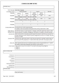 Create Curriculum Vitae Stunning CV Resume Curriculum Vitae In Excel
