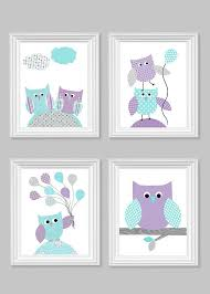 owl nursery decor aqua and purple baby