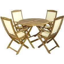 royalcraft manhattan hardwood round folding garden table and 4 henley ivory high back folding armchairs