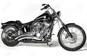 Black Harley Davidson CVO Retro Bike Isolated On White Background  O