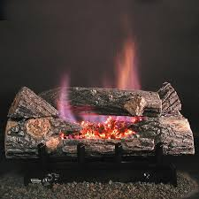 rasmussen 18 inch bark see thru gas log set with vent free propane evening embers dfc7 single burner variable flame remote gas log guys