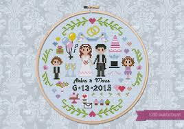 Wedding Cross Stitch Patterns Custom Wedding Sampler Digital Cross Stitch Pattern