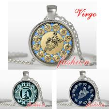 virgo zodiac pendant astrological necklace virgo gift september zodiac symbol pendant horoscope ornament astro