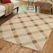 area rug rustic country farmhouse plaid checked carpet beige cream tan 5 3 x7
