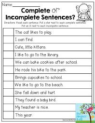 22 Writing Complete Sentences Worksheets, Second Grade Sentences ...
