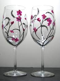 two hand painted wine gl with anese inspired design set of 2