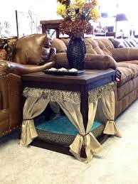 view in gallery side table transformed into a pet bed with miniature curtains