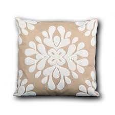 Abbey Embroidered Decorative Pillows, Taupe / White, Single or Set - Utopia  Alley ...