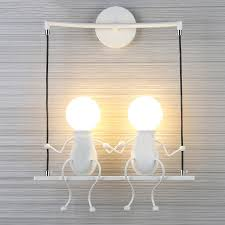 Wall Mounted Light Fixture Us 18 37 30 Off Beiaidi Indoor Iron Doll Led Wall Lamp Cartoon Villain Swing Wall Light Wall Mounted Lighting Fixture For Baby Kids Bedroom Gift In
