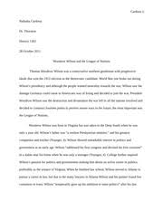 woodrow wilson study resources 4 pages woodrow wilson the league on nations essay