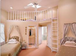 bedroom ideas for girls with bunk beds. Cream Teenage Girl Bunk Beds With Mocha Bedcovering Also White Stairs And Fence Near Ceiling Fan On Wall Cool Bedroom Ideas For Girls T