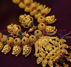 Broad Chain Designs Sn6840 One Gram Temple Kemp Broad Gold Mango Ethnic South