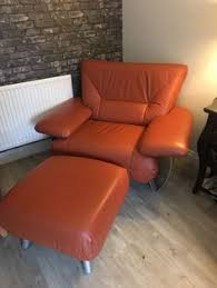 retro vine leather armchair and footstool