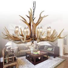 vintage 8 light hardware faux antler chandelier for living room