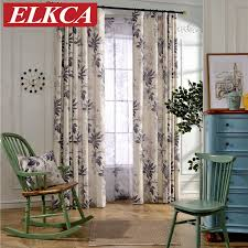 modern red grey leaves printed faux linen curtains for living room bedroom sheer voile curtains