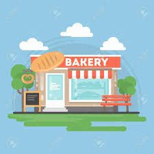 Bakery Shop Building With Landscape Storefront With Bakery Sig