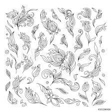 Fotografie Obraz Henna Floral Tattoo Doodle Vector Elements On