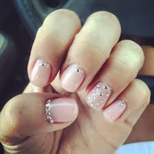 Light Pink Nails With Rhinestones Light Pink Gel Polish With Rhinestones 3 Rhinestone Nails