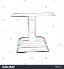 3d render of podium with an open book pencil drawing 3d ilration anaglyph