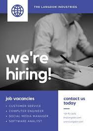 Blue Grayscale Photo Job Vacancy Announcement Marketing