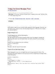 On Error Resume Next On Error Resume Next Excel Vba Goto Excel On
