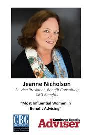 Jeanne Nicholson: Most Influential Women in Benefit Advising | CBG Benefits