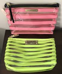 details about victoria s secret cosmetic bag makeup pouch lot of 2 neon yellow pink stripe