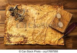 tant old book and gles on vine map over wooden background csp17697958