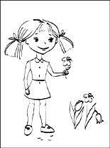 Kleurplaten Kleine Meisje Met De Lentebloemen Gratis Kleurplaten