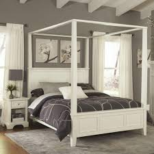 Bedroom Four Poster Bed Canopy Drapes White Full Size Canopy Bed ...