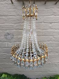 rare large french basket style bohemia crystal chandelier