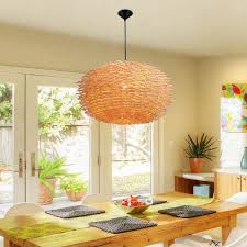 creative bird nest shape chandelier light hand woven rattan art pendant lamp