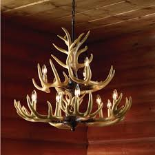 twelve light deer antler chandelier lighting 36in chain