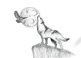 Coloriage Loup Lune L