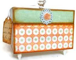 Decorative Recipe Box Recipe Box Retro Kitchen Orange Mint Green Decor Boxes Etc 73