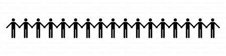 手をつないだ人のライン線の無料イラスト素材イラストイメージ