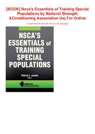 Nsca Program Design Pdf Book Nscas Essentials Of Training Special Populations By