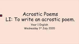 01 07 20 year 1 english acrostic poems