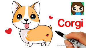 how to draw a corgi easy cartoon dog draw so cute