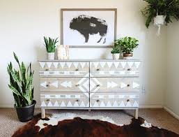 This DIY Aztec Inspired Dresser Makeover Is A Perfect Example Of Pairing  Aztec Patterns With Indoor Plants. Using Stain, Paint, And Tape You Can  Recreate ...