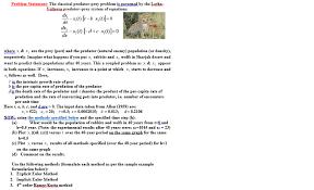 Method Of Statement Sample Extraordinary Problem Statement The Classical Predatorprey Pro Chegg
