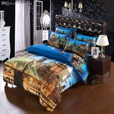 whole set modern unique city duvet cover super king size bedding sets for usa canada king bed 3d city quilt cover bedsheet set stages bedding brown